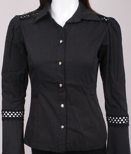 New 100 mph women black long sleeve w design button up for Where to buy womens button up shirts