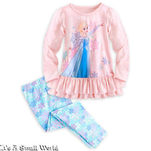 Disney Store Elsa Ruffled Sleep Set Pajama Light Pink Aqua Snowflakes 8 10 NWT
