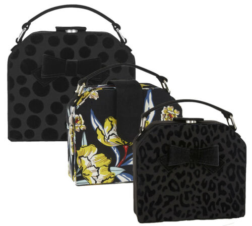 NEW Ruby Shoo Santa Fe Top Handle Bow Bag Black Floral Spot Cressida Carla June