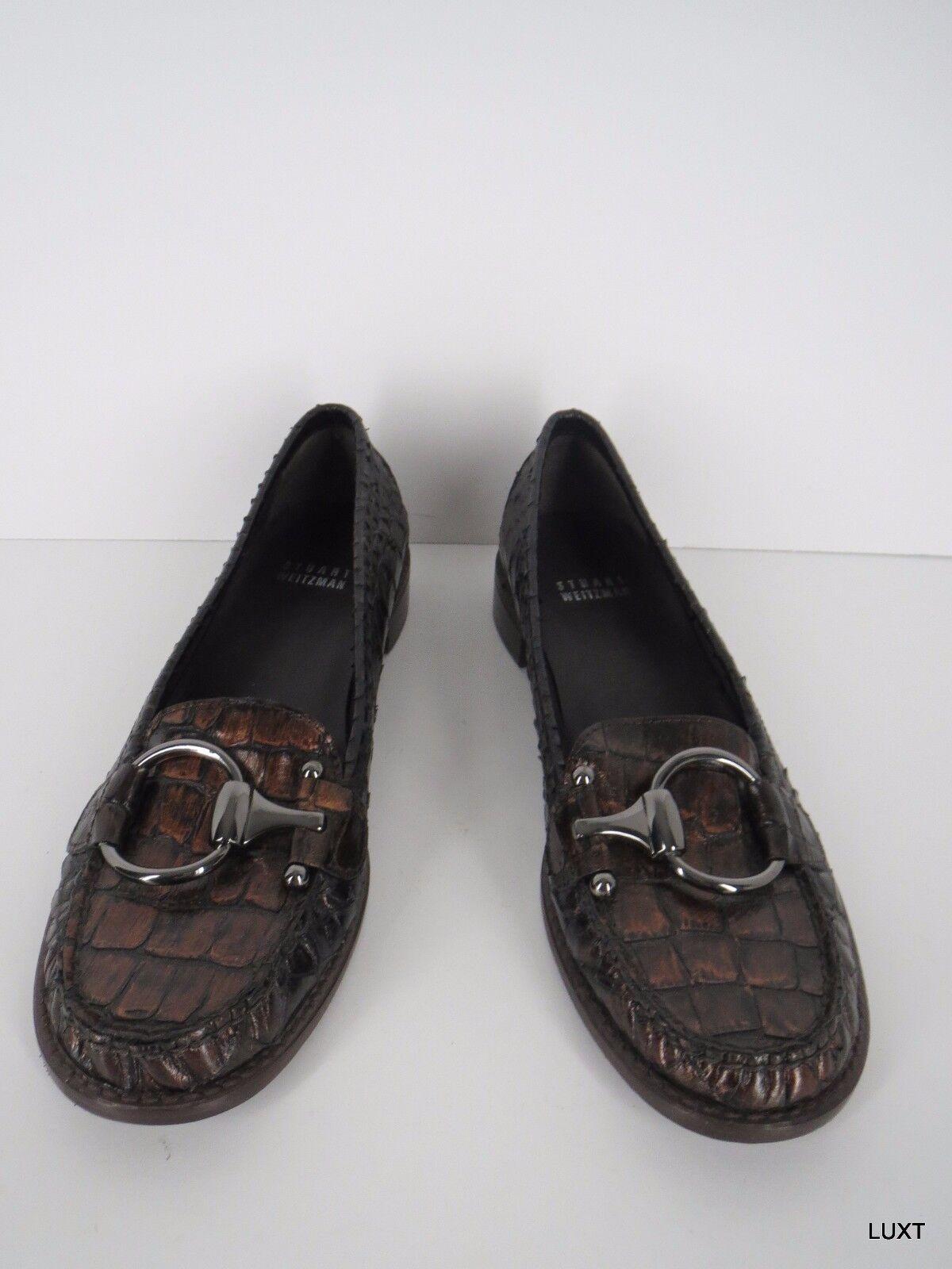 Stuart Weitzman Loafers 7.5 N Patent Leather Brown Metallic Crocodile Horse Bit