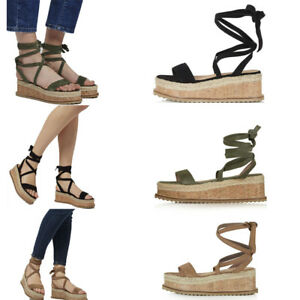 e12a4769f023 Image is loading Womens-Ladies-Flat-Wedge-Espadrille-Ankle-Strap-Sandals-