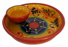 Spanish Pottery Ceramic Handmade Olive Dish With Integral Bowl For Pips 18x 5cm