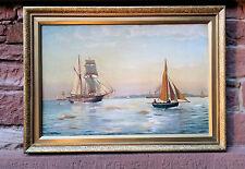 Originale Dipinti a olio JENS JOHAN UOMO ( 1860) Barche vela prima Danese Costa