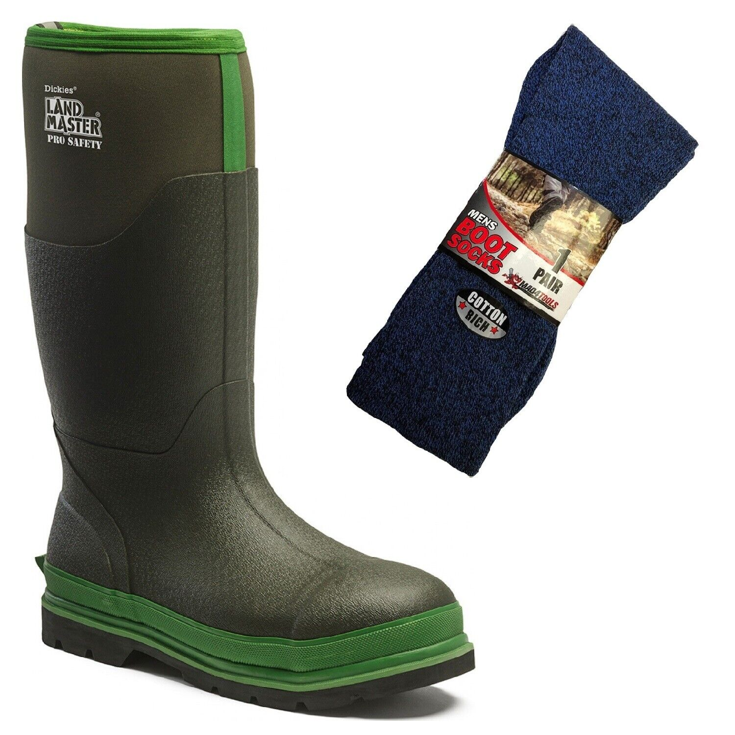 Dickies Landmaster Pro Safety Wellington Boots Green & 1 Pair of Boot Socks
