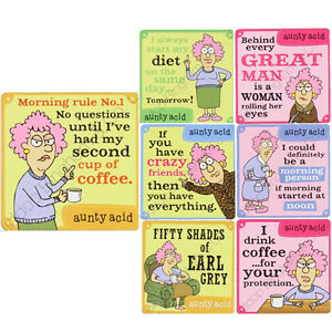 Details about AUNTY ACID COASTERS TEA COFFEE DRINK FUNNY QUOTES NEW  FACEBOOK HUMOUR GIFT SET