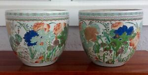 Pair-RARE-Antique-Chinese-style-SAMSON-French-porcelain-fishbowls-or-planters