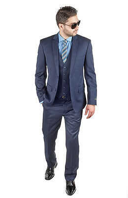 Slim Fit Men Suit 3 Piece Vested Navy Blue Notch Lapel Double Vents By AZAR MAN