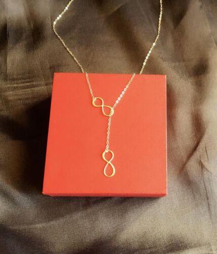 tous les 14k Gold Filled cadeau pour elle Double Infini Lariat Collier