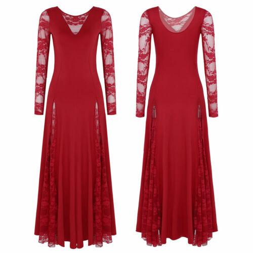 Women Waltz Modern Dance Tango Dress Prom Ballroom Dance Dress Lace Long Sleeves