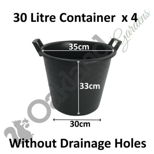 4 x 30 Litre Plant Tree Pot Handles Heavy Duty 30L Lt Big Large WITHOUT HOLES