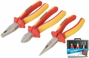 Silverline-3pc-Insulated-VDE-Plier-Set-Long-Nose-Side-Cutter-Combination-Pliers