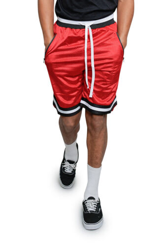 Men/'s Mesh Drawstring Basketball Shorts with Zippered Pockets  S ~ 5XL  JS17-A7B