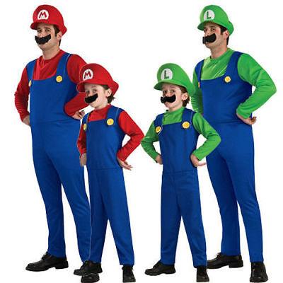 Halloween Costume Men Kids Super Mario Costume Luigi Brothers Plumber Moustache