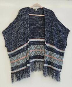 Jolt-Sweater-Kimono-Blue-Aztec-Style-Fringe-Women-039-s-Size-Large-FLAW