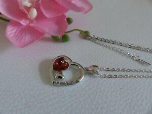 Collier Femme Pendentif Coeur Cristal Rouge + Chaine Neuf