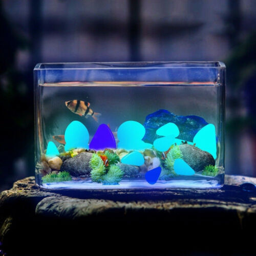 10Pcs Glow In The Dark Stones Pebbles Rock Aquarium Fish Tank Garden Walk Decor