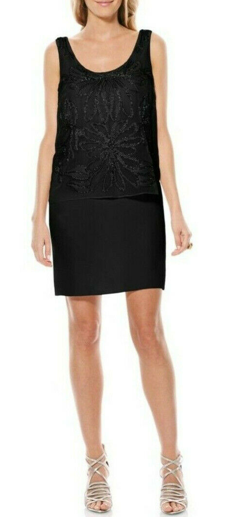 Laundry by Shelli Segal NEW Black Womens Size 6 Crochet Shift Dress $173 840