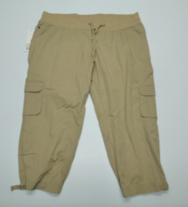 ada54591ca704 Liz Lange Maternity Womens Small Tan Straight Fit Cargo Capri Pants ...