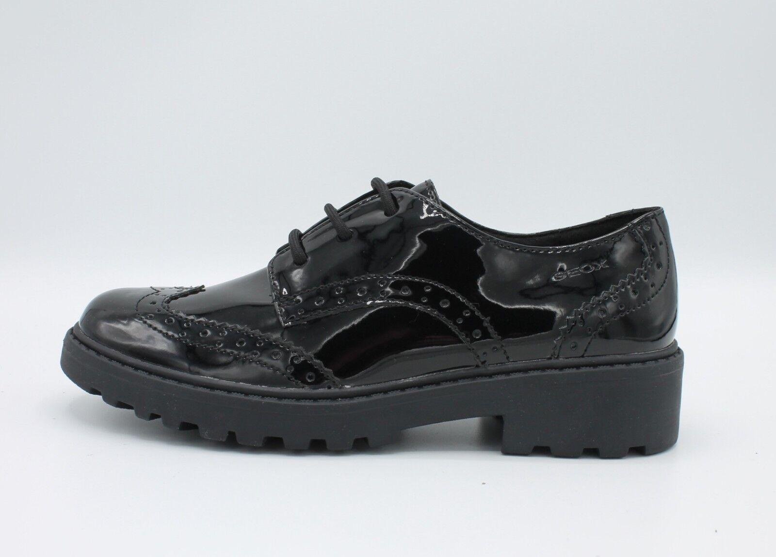 Geox zapatos negro da Bambina Francesine mujer in Vernice Pelle negro zapatos Derby Inglesine 21ae6b