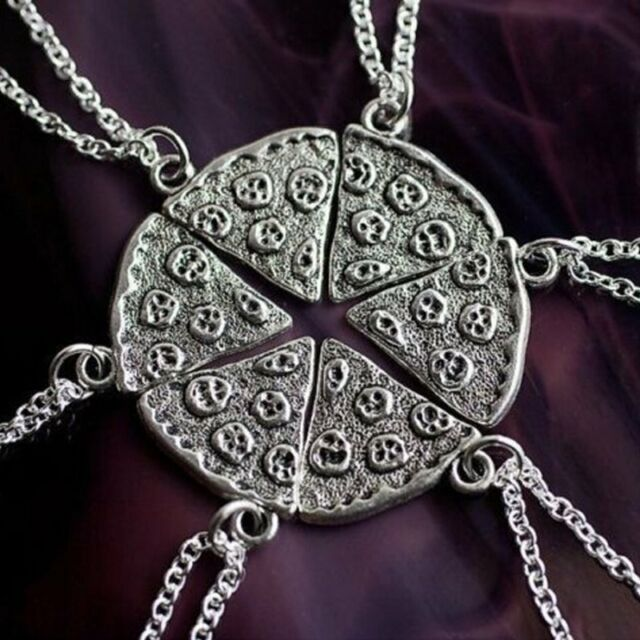 6PCS Pizza Slice Silver Tone Best Friends BFF Friendship Family Necklace Pendant