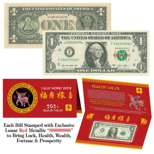 2021 Chinese YEAR of the OX Red Lunar Metallic Lucky 8 Genuine $1 Bill w// Folder