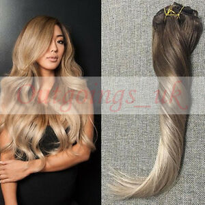 Remy clip in human hair extensions ombre balayage hair clips 4 image is loading remy clip in human hair extensions ombre balayage pmusecretfo Choice Image
