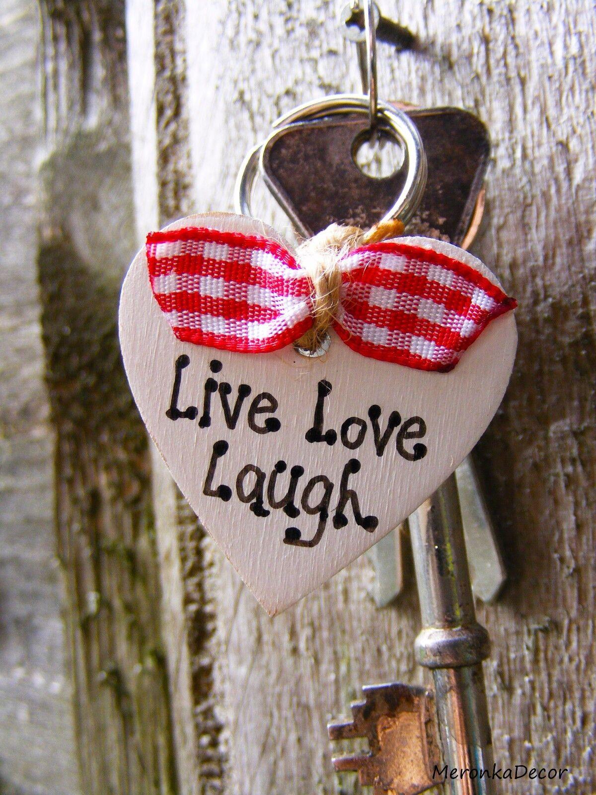 , el amor, la risa-Live Keyring-personalizado de madera de corazón, Amor Corazón San Valentín