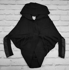 ESSENTIAL Mason Black Cotton/Cashmere/Leather Hooded Cardigan Jacket SzS/UK10