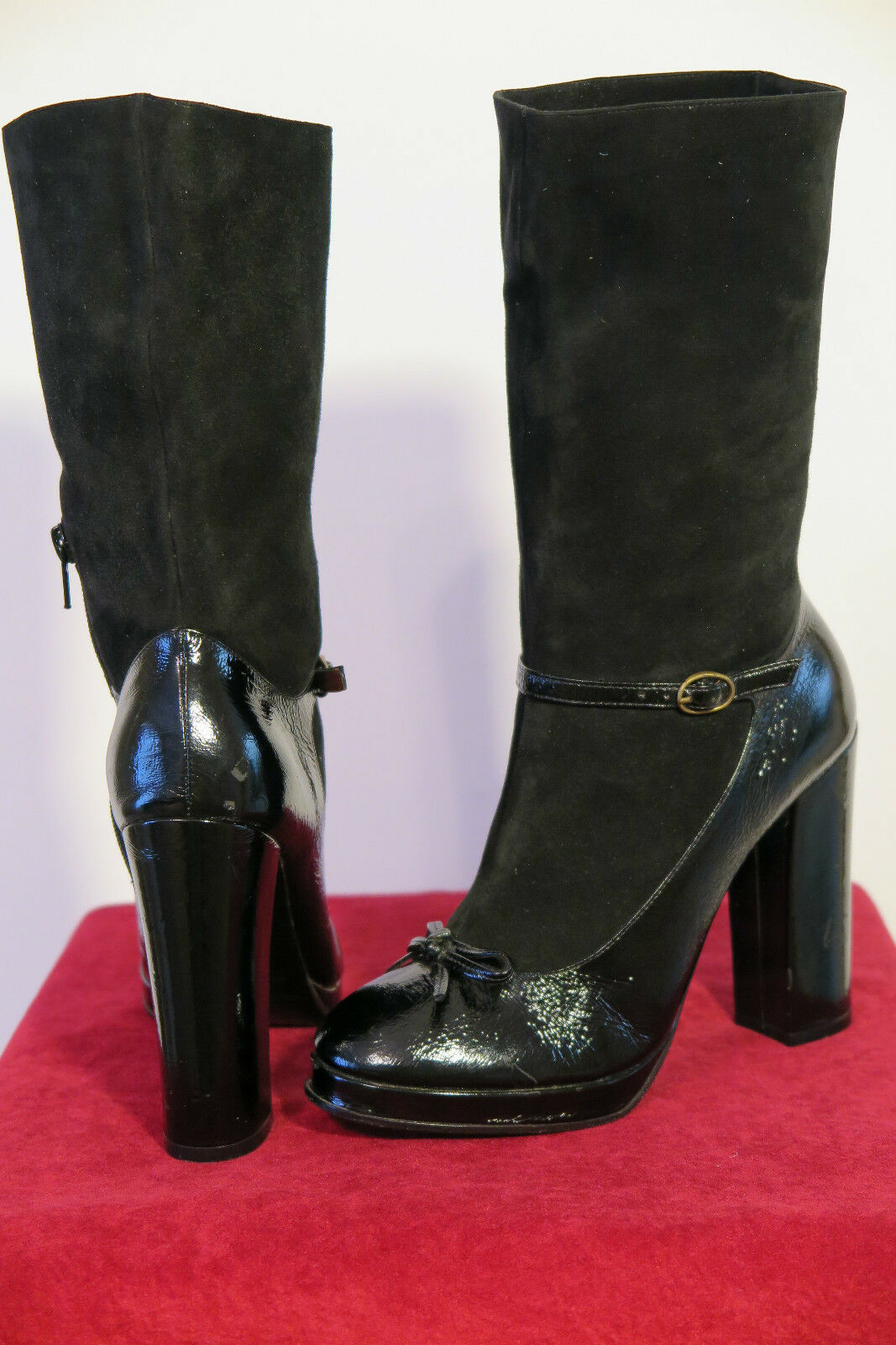 NWOB Marc by Marc Jacobs Suede Patent Leather Mary Jane Boots Sz 6.5B MSRP 725