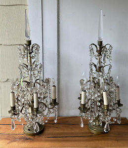 Pair-Antique-French-Brass-Crystal-Girandole-Table-Lamps-Chandelier-Candelabras