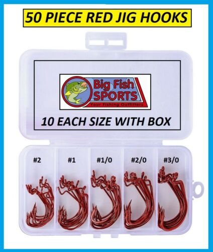FREE USA SHIP! 50 PC Red Worm Soft Bait Jig Fish Hooks with Plastic Box 5 SIZES