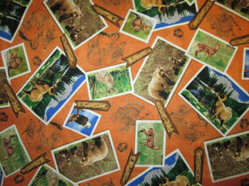 NATIONAL PARKS POST CARDS ANIMALS TAN 20th ANN COTTON FABRIC BTHY