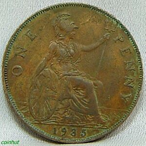 1935 Great Britain King George Penny Coin Coinhut1012