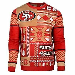 c238232f Details about Ugly Christmas Sweater Nfl San Francisco 49Ers Patches  Football Xmas Crew Neck