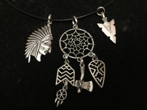 """Indian Chief Bow Arrowhead Dreamcatcher Charm Tibetan Silver with 18/"""" Necklace F"""