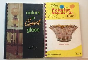 Lot-2-Colors-In-Carnival-Glass-Books-Both-Signed-By-Sherman-Hand