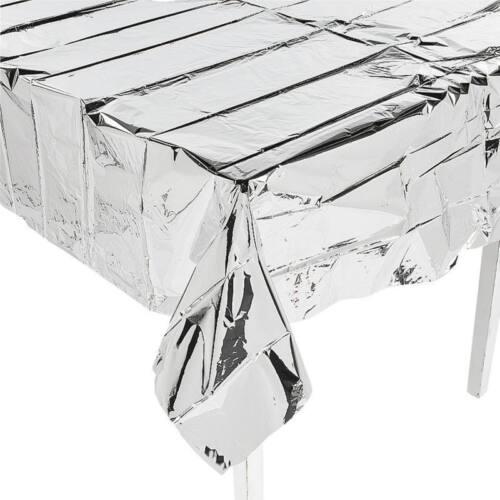 Tischdecke silber Metallic Silvester Discoparty Party Deko