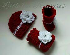NEW Newborn Baby Girl Flower Hat and Booties Crochet Photography Prop Gift