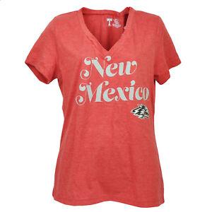 NCAA-New-Mexico-Lobos-V-Neck-Red-Short-Sleeve-Tshirt-Tee-Womens-Ladies-Sports