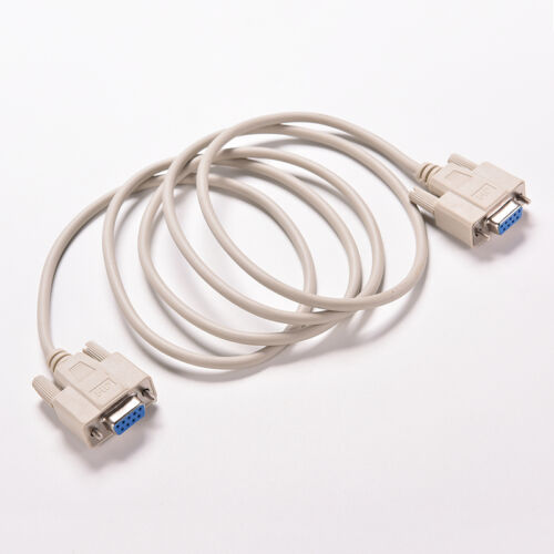 White RS232 Null Modem Cable Female to Female DB9 5ft 1.5m Cross connector HV