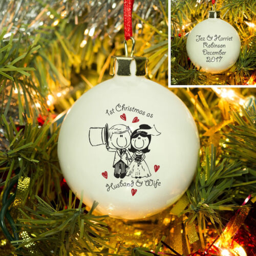 PERSONALISED 1ST FIRST CHRISTMAS AS HUSBAND AND WIFE TREE BAUBLE Gifts Ideas for