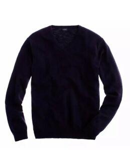 J-Crew-Slim-rugged-cotton-V-neck-sweater-NWOT-Deep-Navy-large-new-slim-fit-89