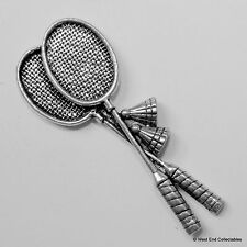 Badminton Rackets & Shuttlecocks Pewter Pin Brooch-British Hand Crafted- Racquet