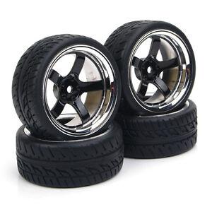 Run-Flat-Tires-amp-Wheel-RC-4Pcs-12mm-Hex-For-HSP-HPI-1-10-On-Road-Model-Car