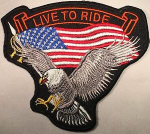LIVE-TO-RIDE-USA-FLAG-EAGLE-EMBROIDERED-MILITARY-BIKER-MOTORCYCLE-PATCH-P-26