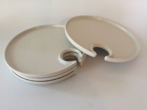 Image is loading Wine-&-Dine-Party-Appetizer-Plates-Wine-Holder- & Wine \u0026 Dine Party/ Appetizer Plates Wine Holder Set Of 4 Pottery ...