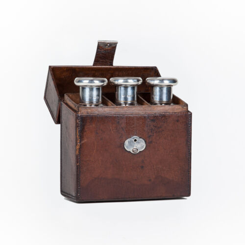 20th Century Finnigans of London Leather Cologne Set. Hallmarked 1929.