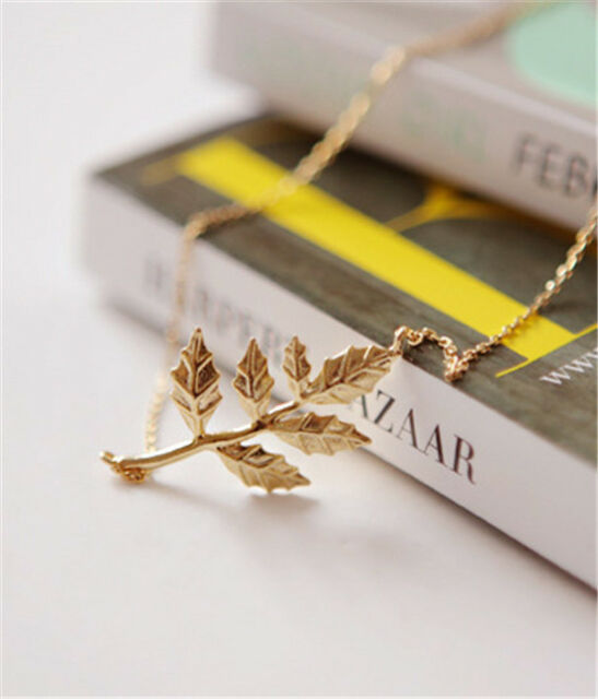 Fashion Elegant Gold Leaves Pendant Simple Women Charm Chain Necklace Jewelry