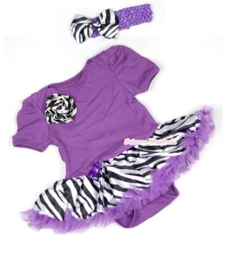 Infantil púrpura Mono Cebra Rosa Baby Girl Vestido Morado Cebra Falda Conjunto nb-12m