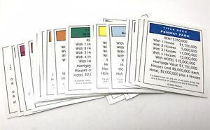 set of 28 cards Original MONOPOLY Game PROPERTY CARDS